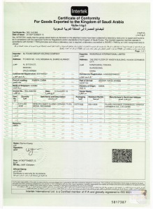 Certification for goods export to Saudi Arabia (SASO)